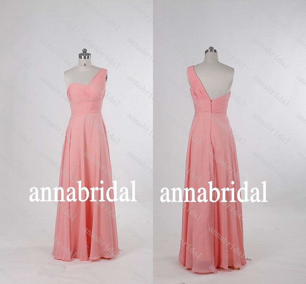 Oneshoulder long bridesmaid dresses chiffon aline by annabridal