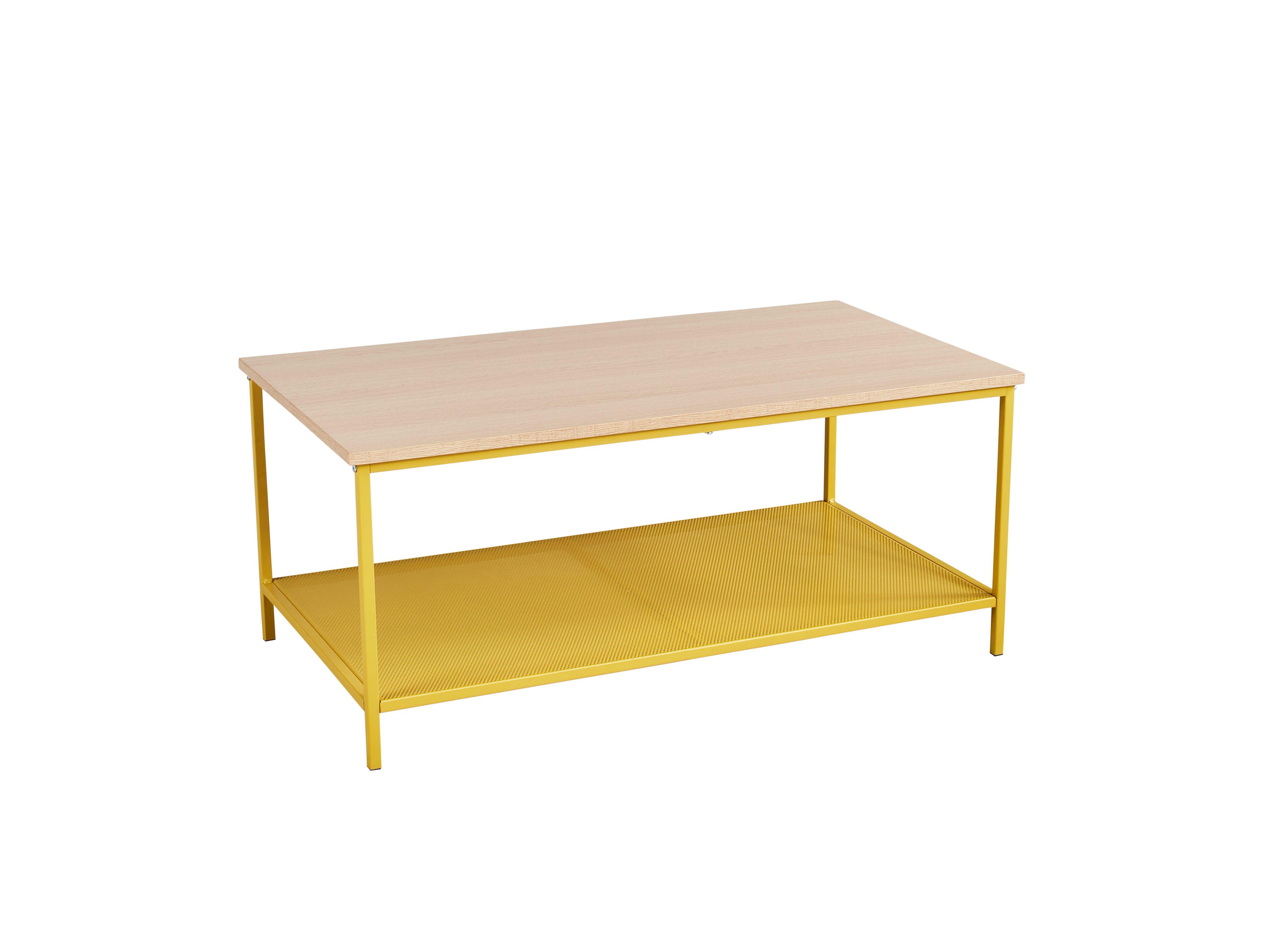 Table basse rectangle NAILA industrielle Jaune/Chêne | Été Indien ...