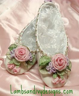 Silk Ribbon Rose Ballet Shoes | Threads,ribbons,pearls, lace,beads n
