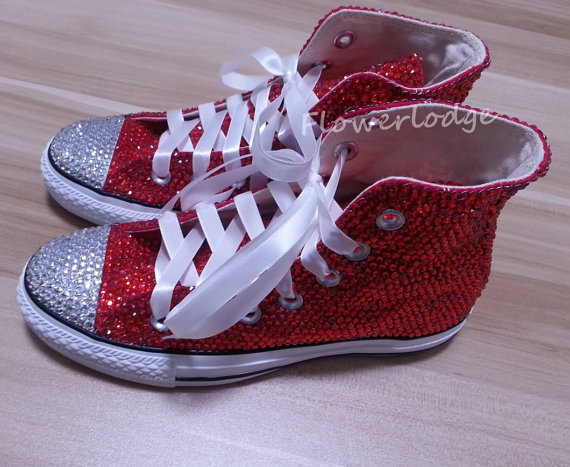 High Top Converse Shoes with red rhinestone 9535f02eb
