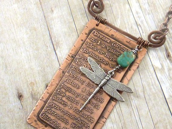 Dream Etched Copper Necklace Dictionary by ATwistOfWhimsy on Etsy, $52.00