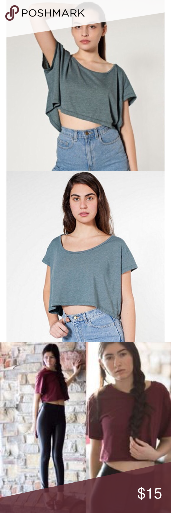 American apparel loose crop top This shirt is one size in color burgundy great for summer ☺️ American Apparel Tops Tees - Short Sleeve