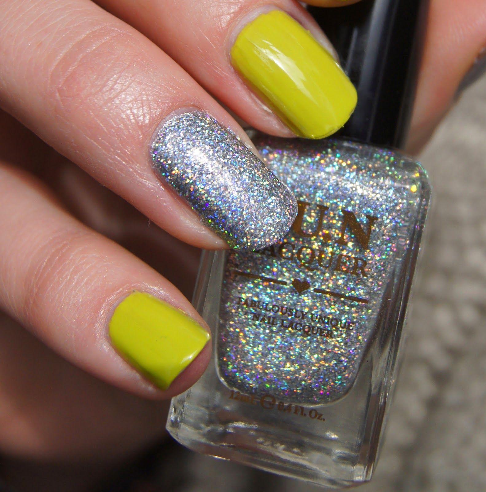 nail art green glitter stamping nails | Passion for nails! | Pinterest