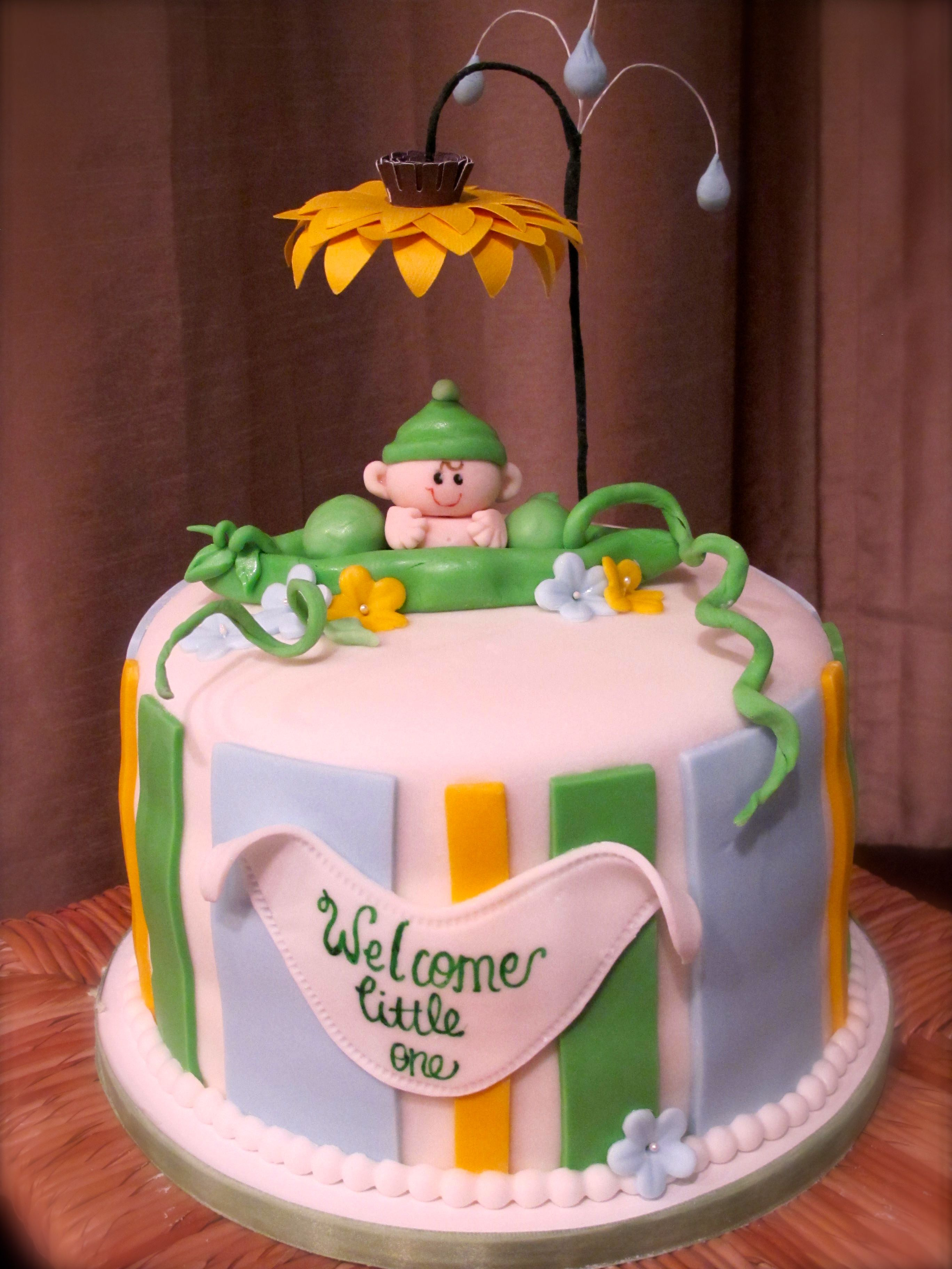 Pea in a Pod Baby Shower Cake by Olive Parties