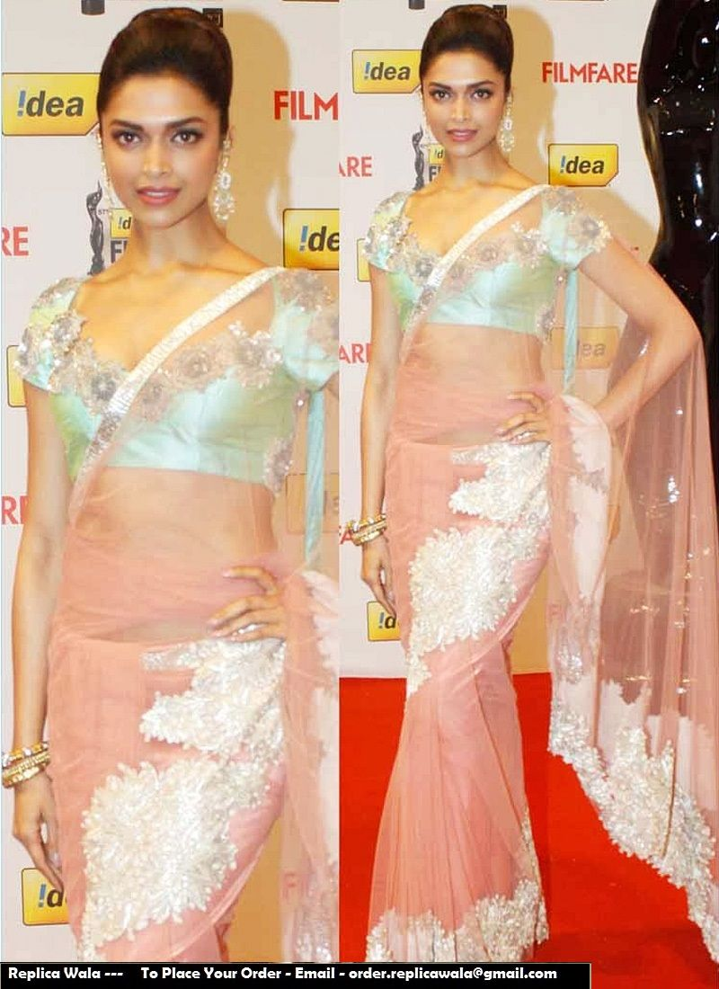 Deepika Padukone Pink Net Saree With Crystal Work ...