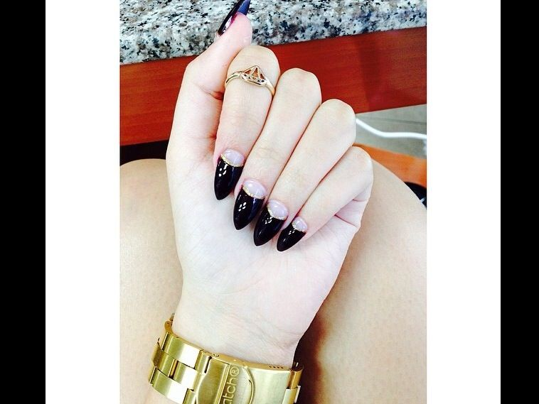 black & gold moon stiletto
