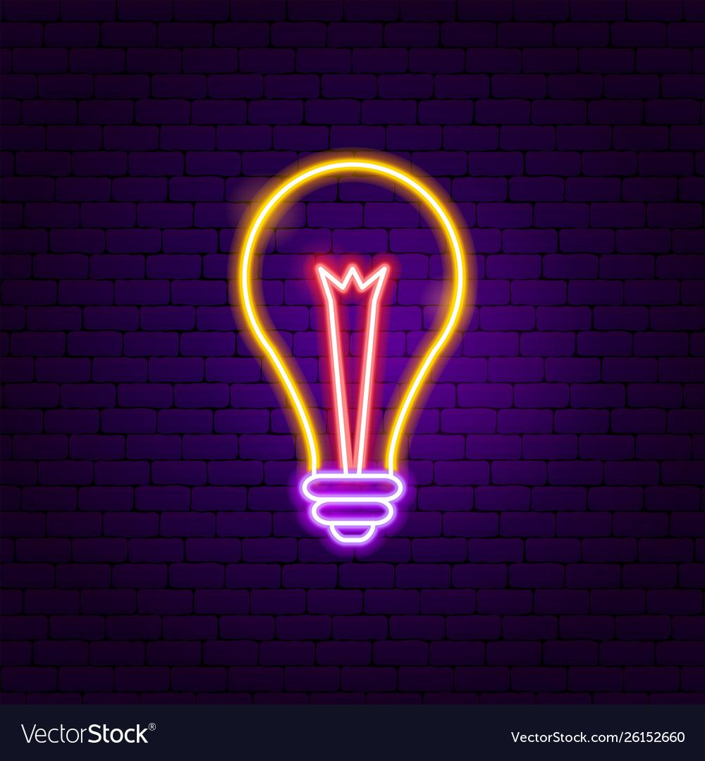 Lamp neon label vector image on VectorStock in 2020 Cool