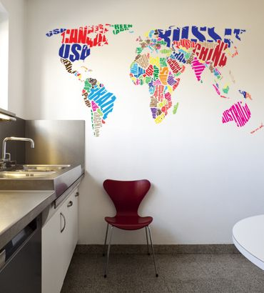 Streetwallz world map typography wall decal 10500 httpwww world map typography wall decal gumiabroncs Image collections