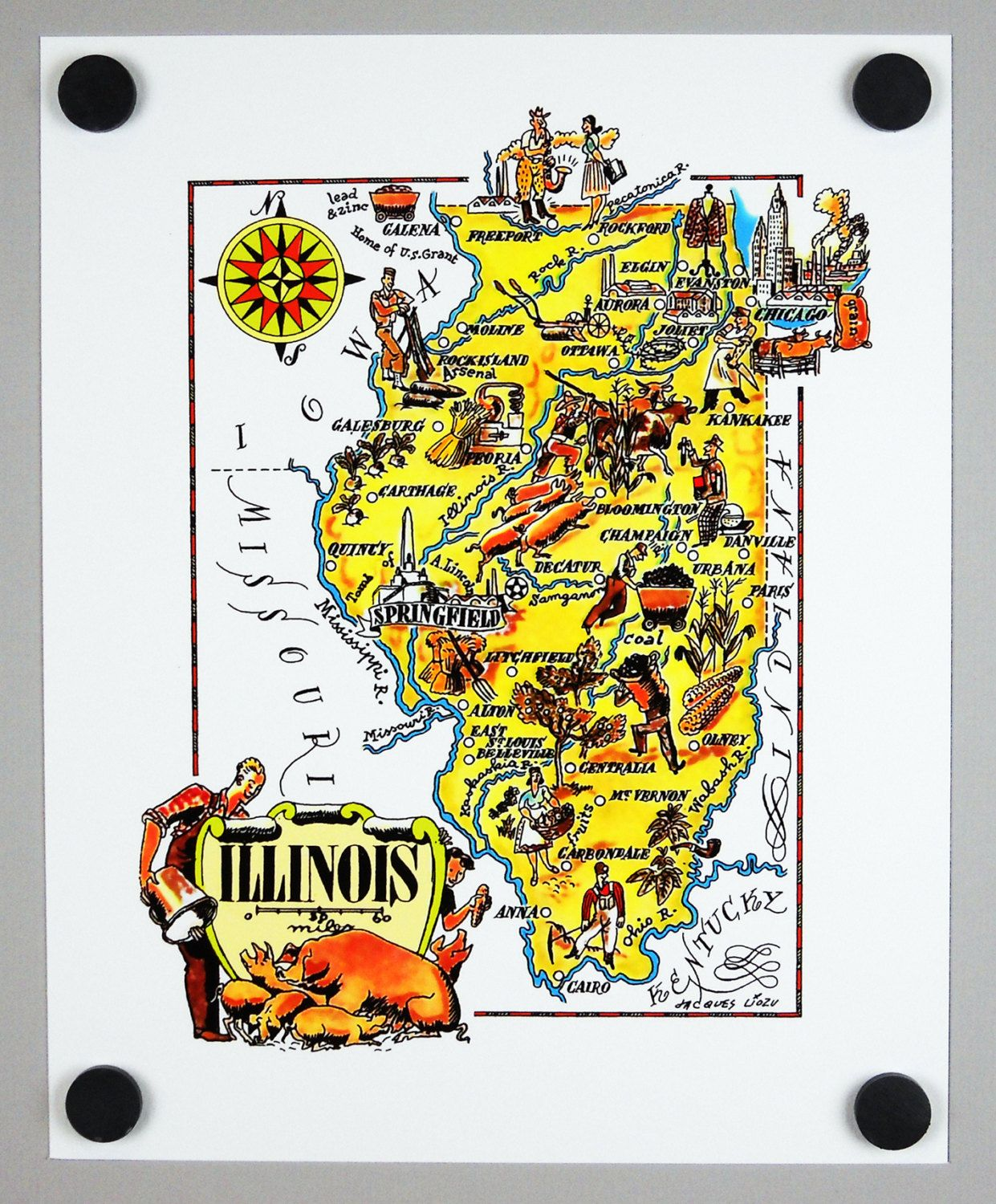 Chicago Illinois Archival Print Giclee  Vintage Map Lake - Chicago map lake michigan