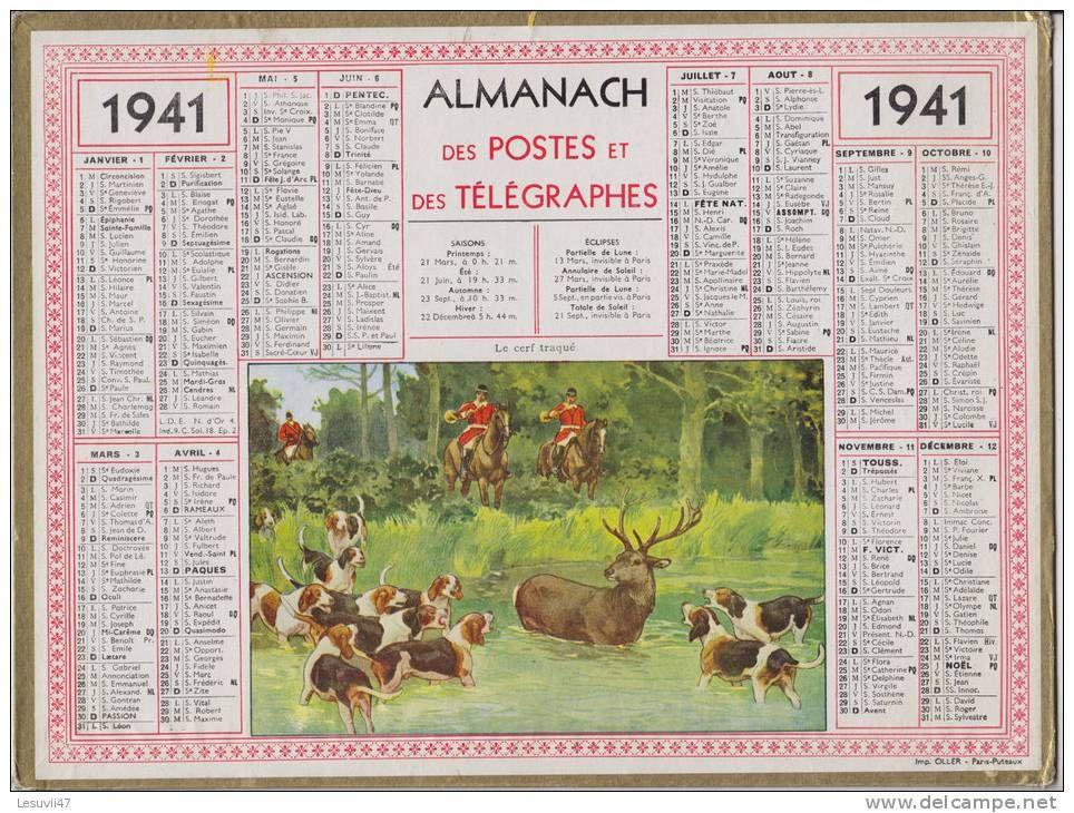Calendrier 1941.Calendrier 1941 Tjm