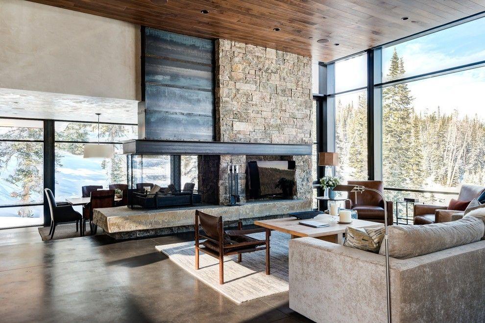 Rustikale Einrichtung Mit Steinwand Wohnzimmer