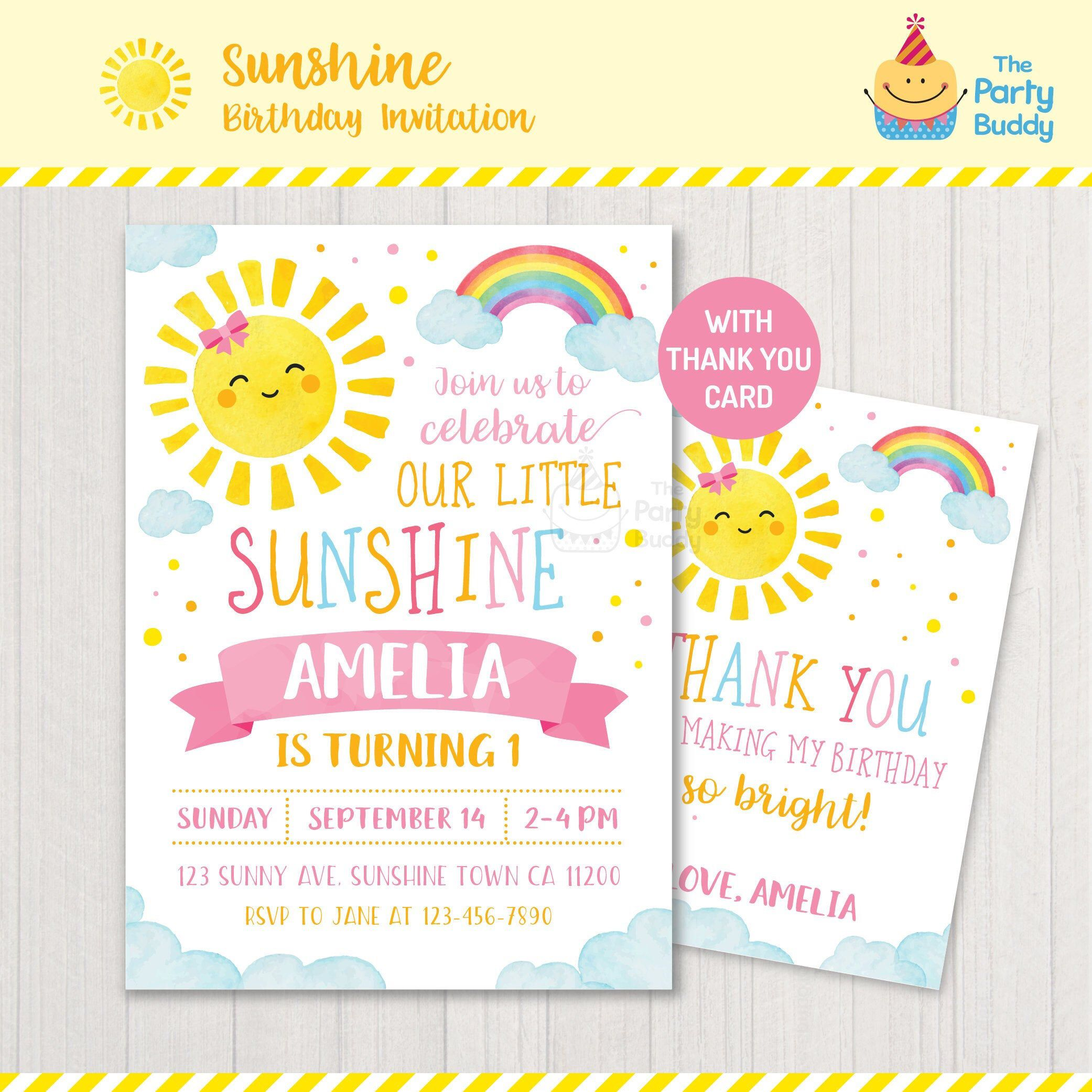 Sun themed invite Kids You are my sunshine One in the Sun First Birthday Invite Yellow Boy or Girl