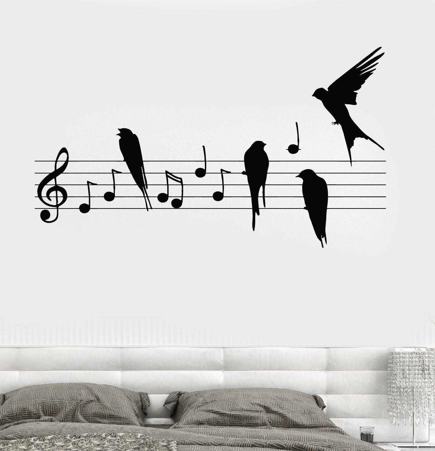 Wall decal notes music birds romantic bedroom vinyl sticker unique