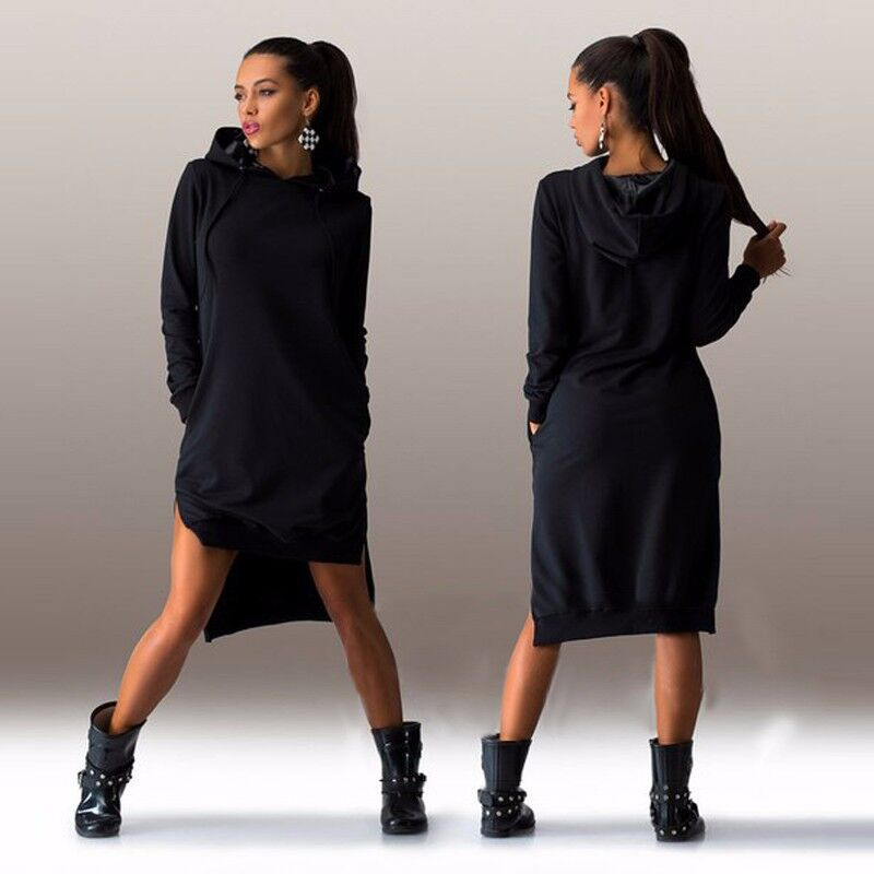 Women Plus Size Hooded Hoodie Dress Autumn Sport Jumper Sweatshirt ...