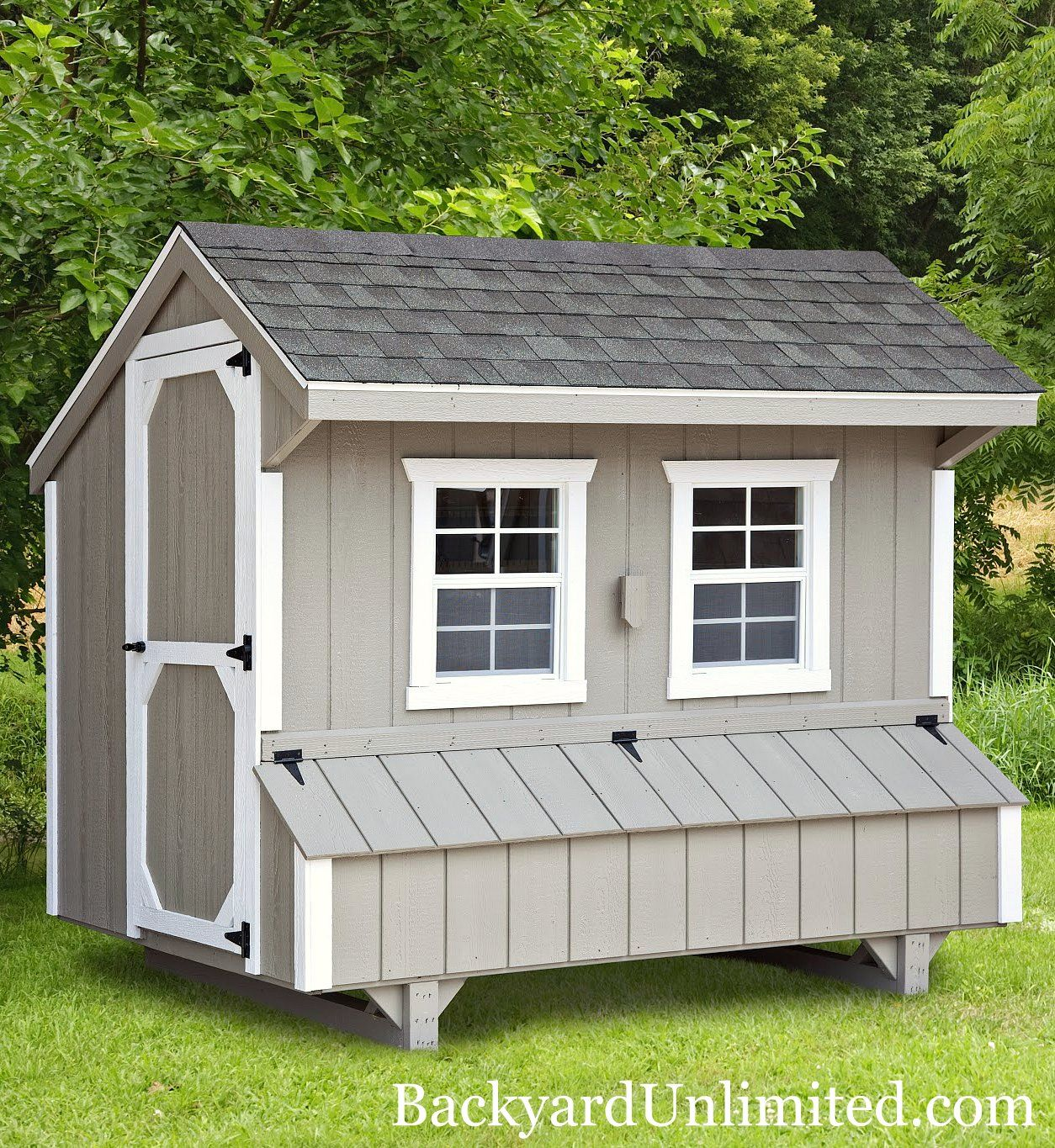 Photo: 5'x8' Quaker Style Chicken Coop: includes 8 nesting boxes and holds 20-24 chickens
