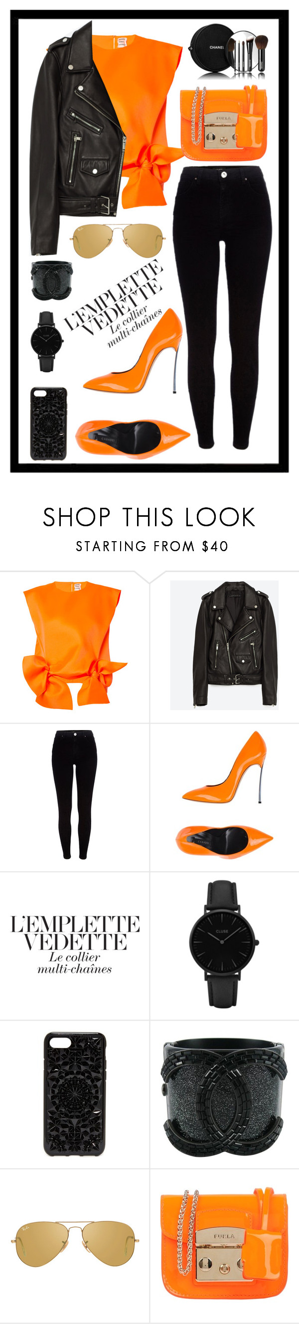 """""""Untitled #577"""" by rockinstyles ❤ liked on Polyvore featuring Maison Rabih Kayrouz, Jakke, River Island, Casadei, CLUSE, Felony Case, Chanel, Ray-Ban and Furla"""