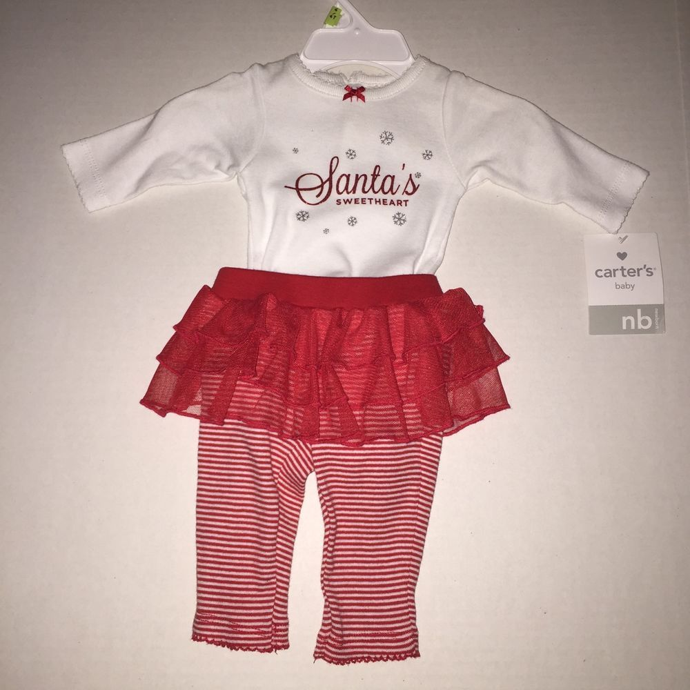 Baby Girl Outfit NB Newborn Christmas Santas Sweetheart Tutu New #Carters #Holiday