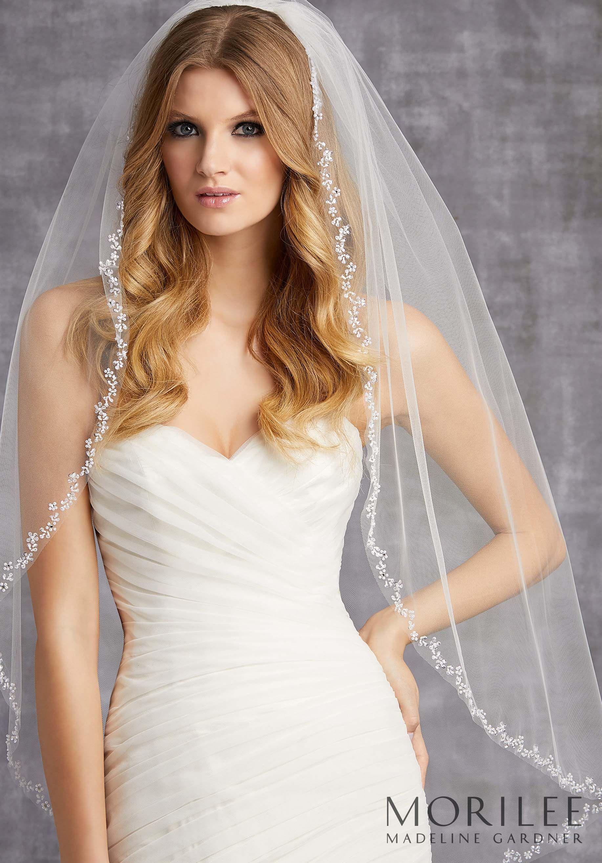Morilee Madeline Gardner Style Vl1011 Wedding Veil Edged With Floral Designs Of Sequins Bugle B Bridal Veils And Headpieces Wedding Veils Short Short Veil [ 2630 x 1834 Pixel ]