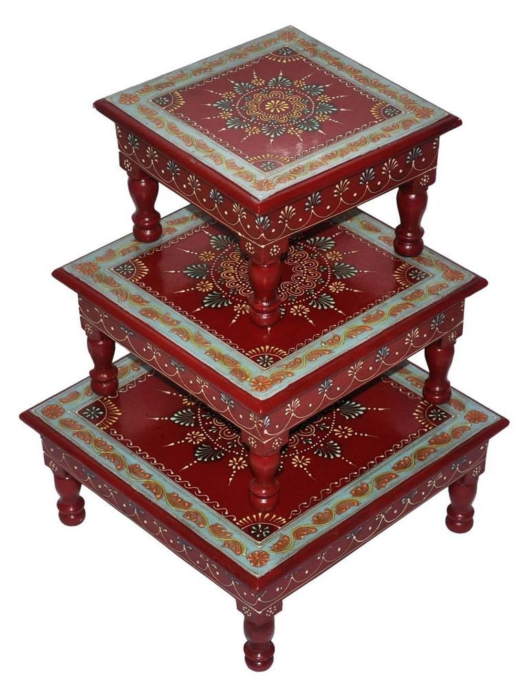 Indian Handmade Wooden Meenakari Red Painted 3 Table Stool Chowki Bajot  Sets #Handmade #Country