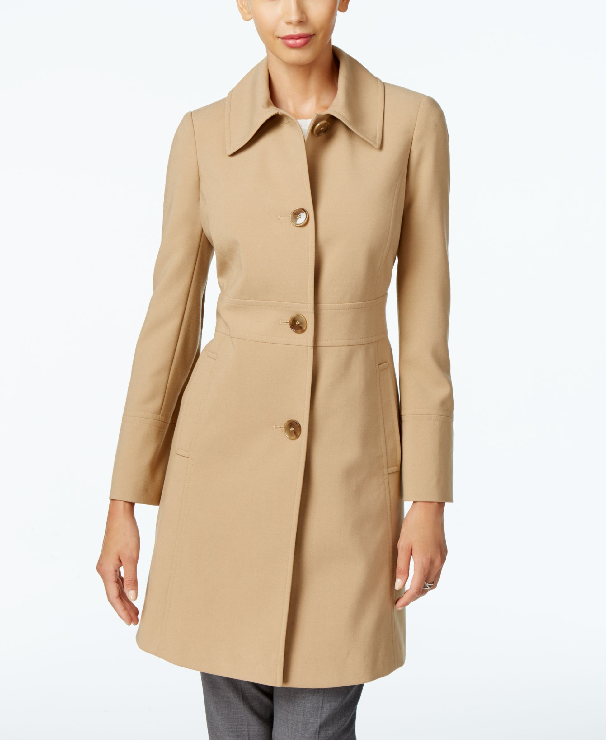 Larry Levine Button-Front Walker Coat, Only at Macy's