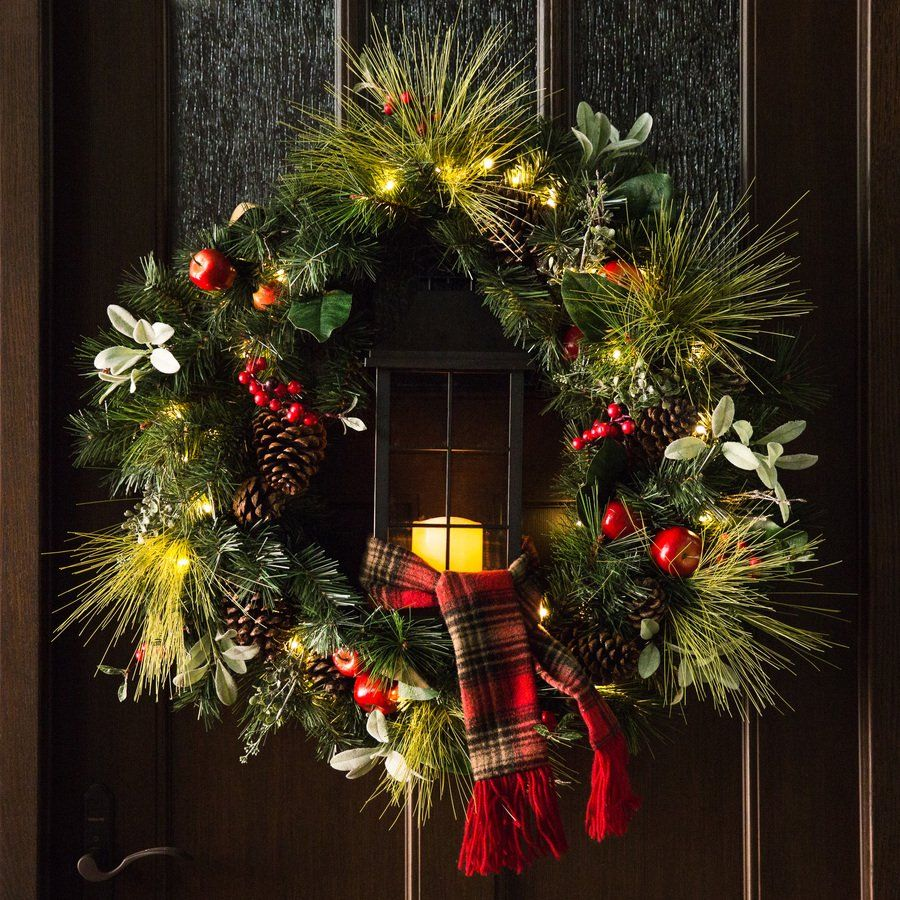 4 Foot 48 Inch Multi Color L E D Christmas Wreath With Pre Lit Red Bow Christmas Wreaths Large Christmas Wreath Pre Lit Christmas Wreaths