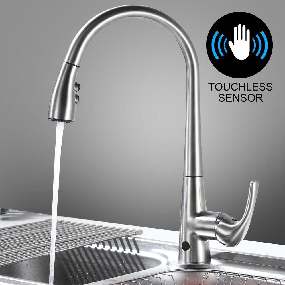 Poliert Messing Kuchenarmatur Spule Fossett Keine Touch Badezimmer Wasserhahn Delta Elektronische Armatur Wasser Kitchen Faucet Faucet Touchless Kitchen Faucet