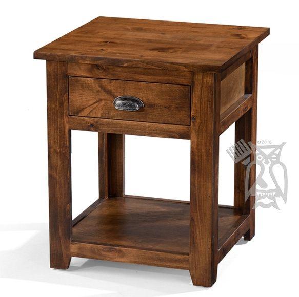 Custom Built Rustic Alder Wood End Table With Drawer Choose Color