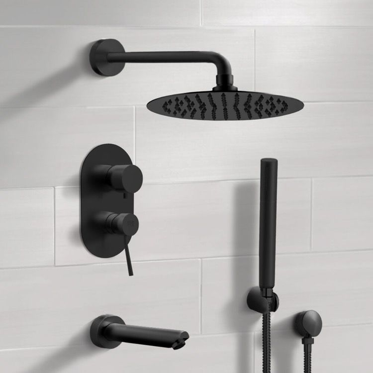 Matte Black Tub And Shower System With Rain Shower Head And Hand