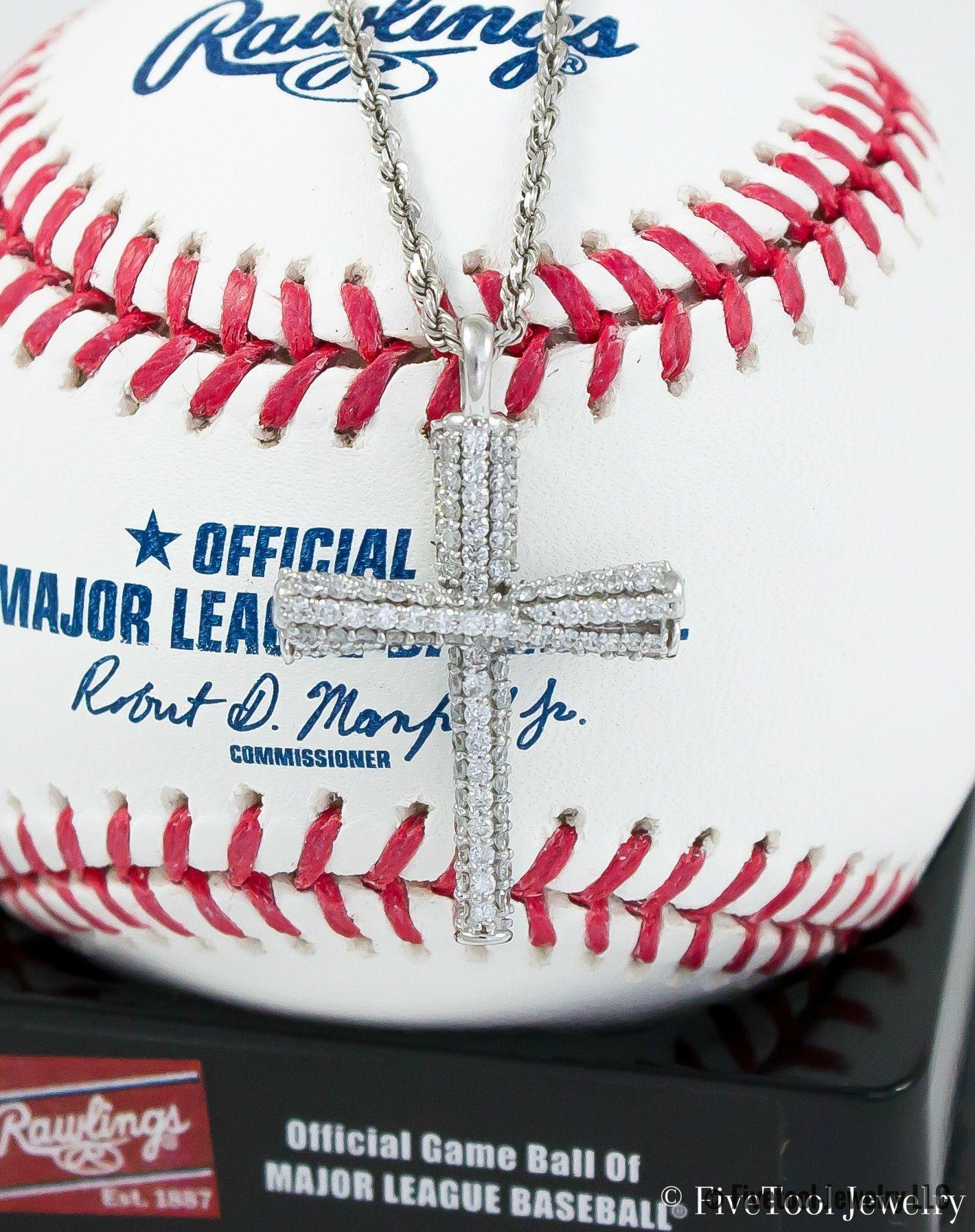 diamond studded gold fivetool baseball bat cross pendant diamond