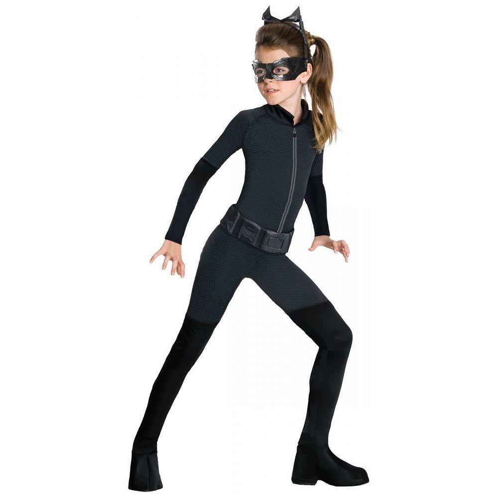Mask Superhero Dark Knight Batman Childs Fancy Dress Catwoman Girls Costume