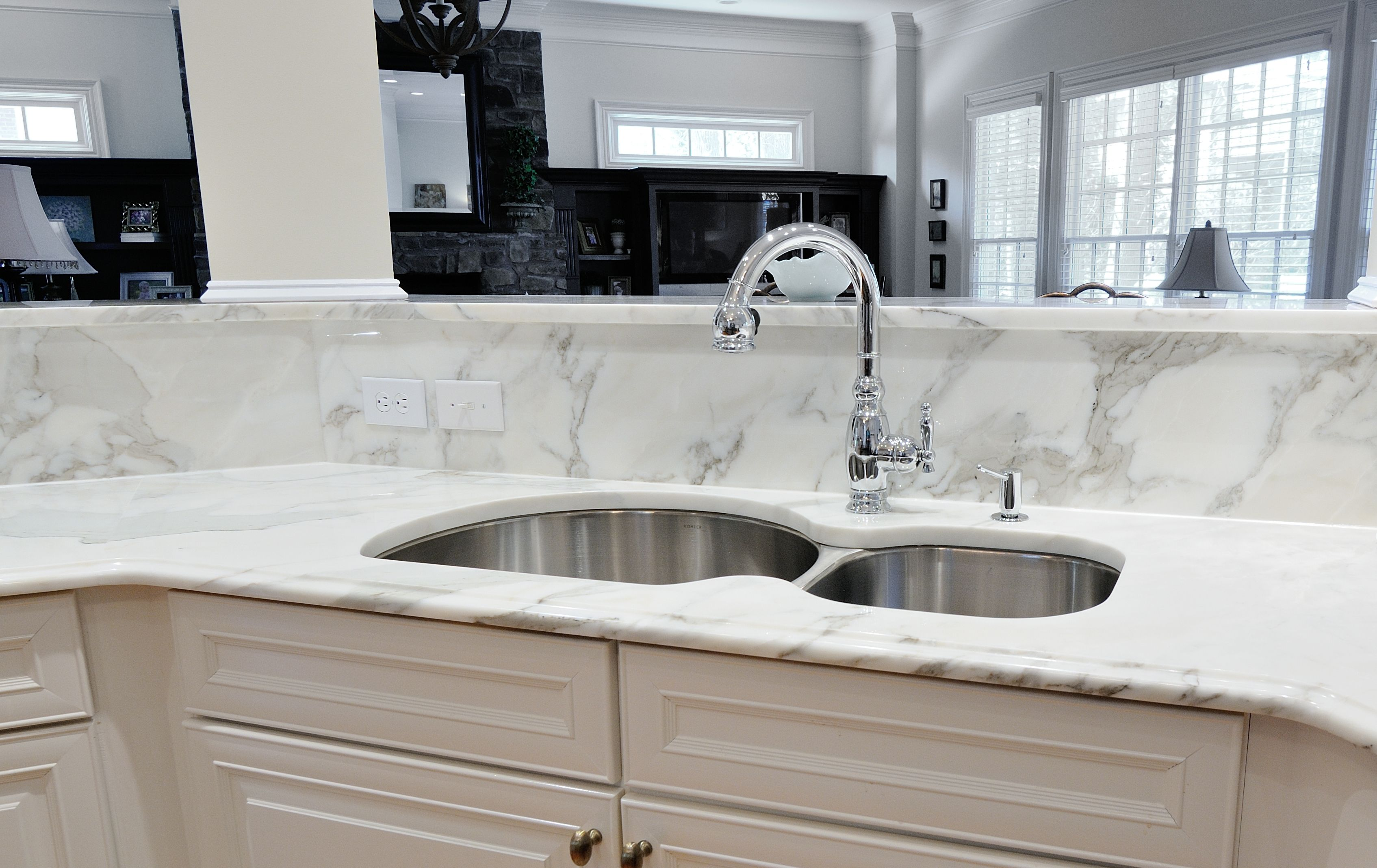 Calacatta gold marble kitchen counter u backsplash by atlanta