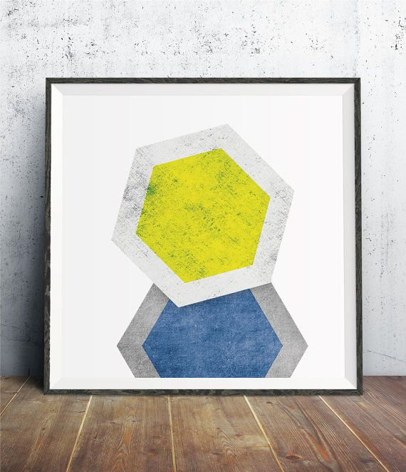 Large Wall Art Hexagon Print Geometric Art by TaiPrints on Etsy ...