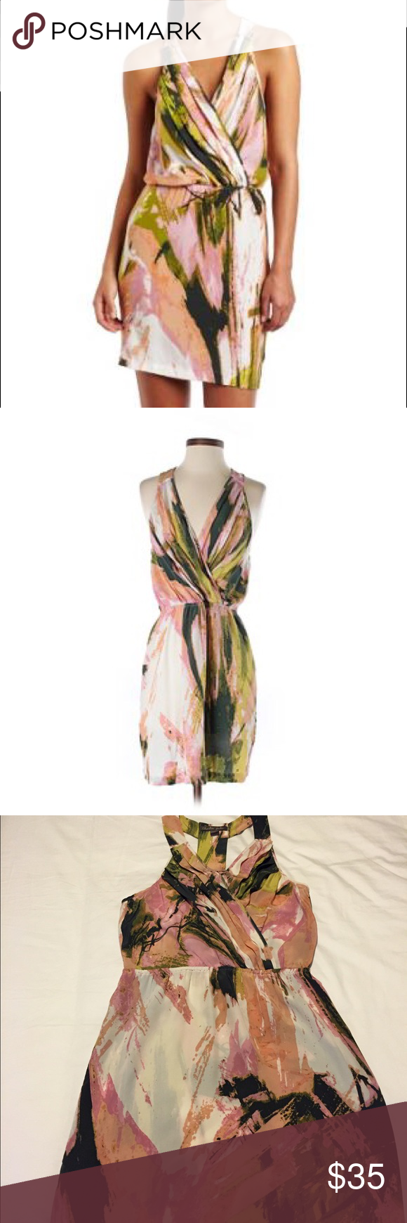 100% pink and green silk dress Charlie Jade Women's Tracie dress. 100% silk. Racerback Charlie Jade Dresses