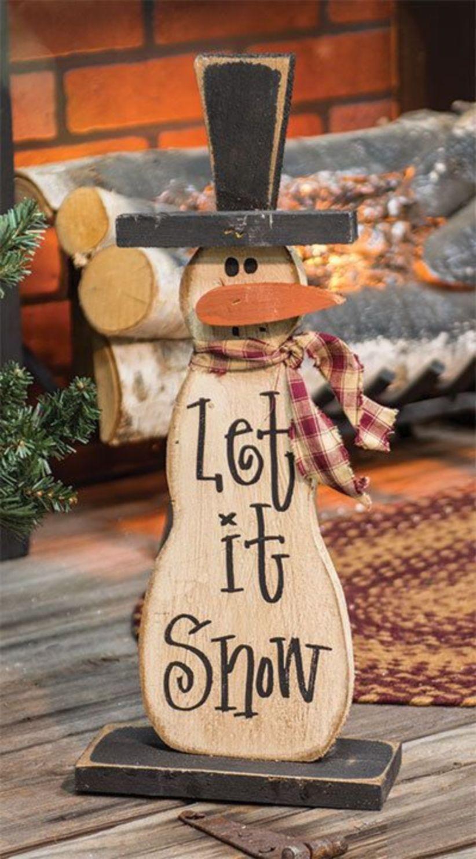 21++ Primitive wooden snowman crafts ideas
