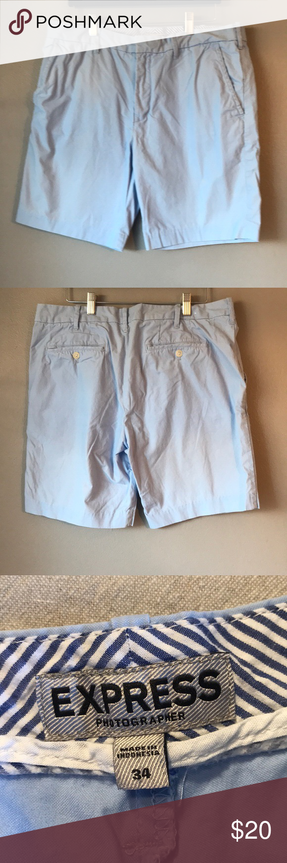 Express Men's light blue shorts Express Men's light blue shorts  Excellent condition with the exception of a small stain, that is not noticeable at all, shown in pictures  Smoke free home Express Shorts #lightblueshorts