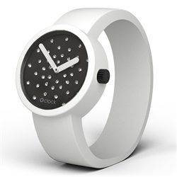 O clock watch Crystal Black Face with White Strap