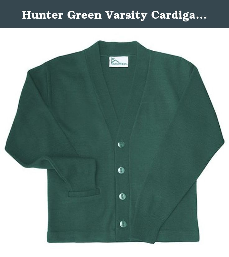 9e85692b441a Hunter Green Varsity Cardigan Uniform Sweater Unisex S. acrylic ...