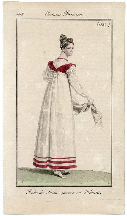"""1815. """"satin dress trimmed with velvet."""" no mention of the obvious under-layer which could be just a shirt or (who knows) knee-length or even full-length--tho that seems unnecessary..."""