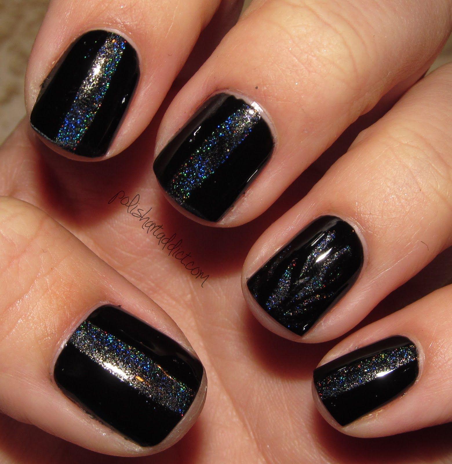 Concrete And Nail Polish Striped Nail Art: Black Polish With Black Glitter Nail Stripe Nail Art I