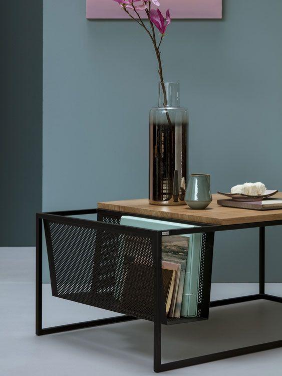 Moderner Design Couchtisch Mit Funktionaler Ablage Für Zeitschriften  ✓spannender Materialmix Aus Holz Und Metall