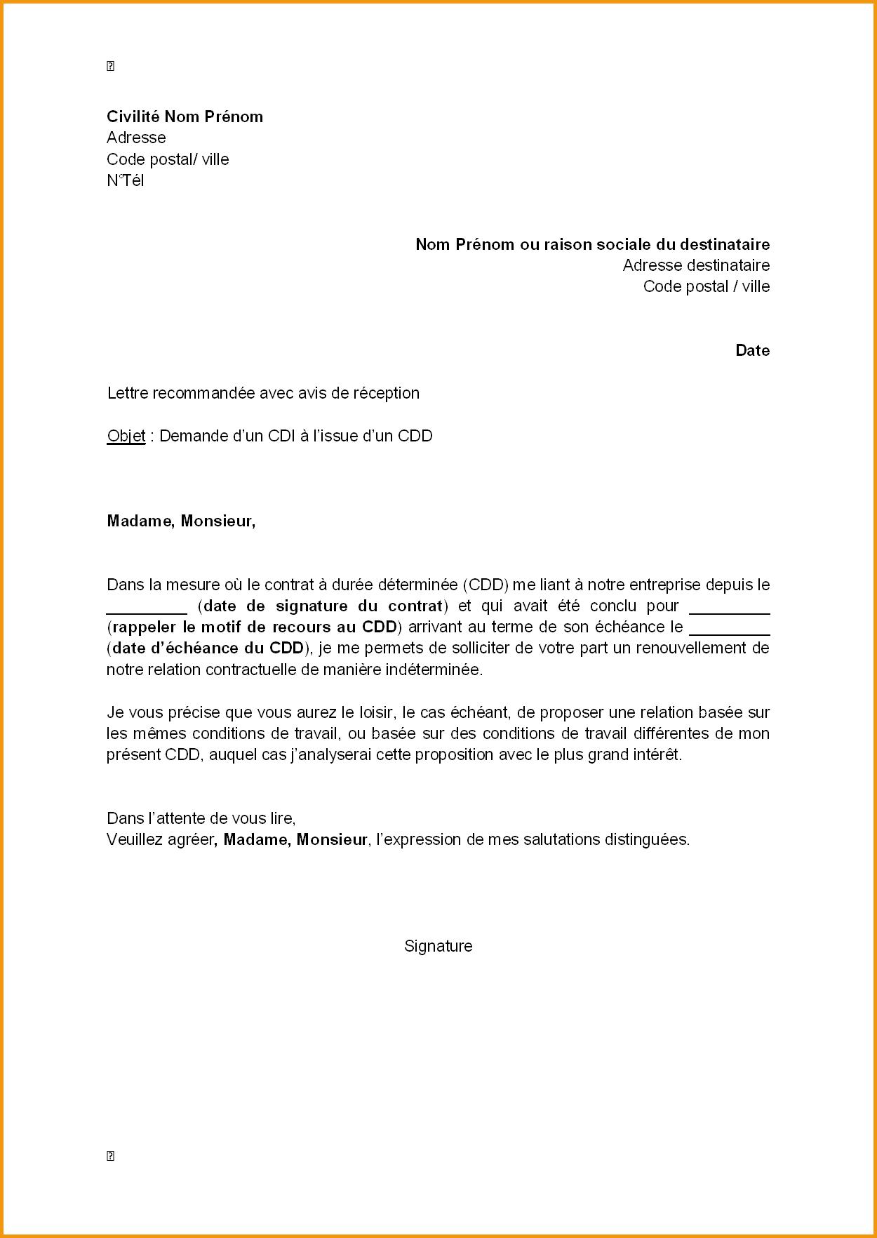 Lettre De Demande D Emploi Apercu Lettre De Demande D Un Cdi