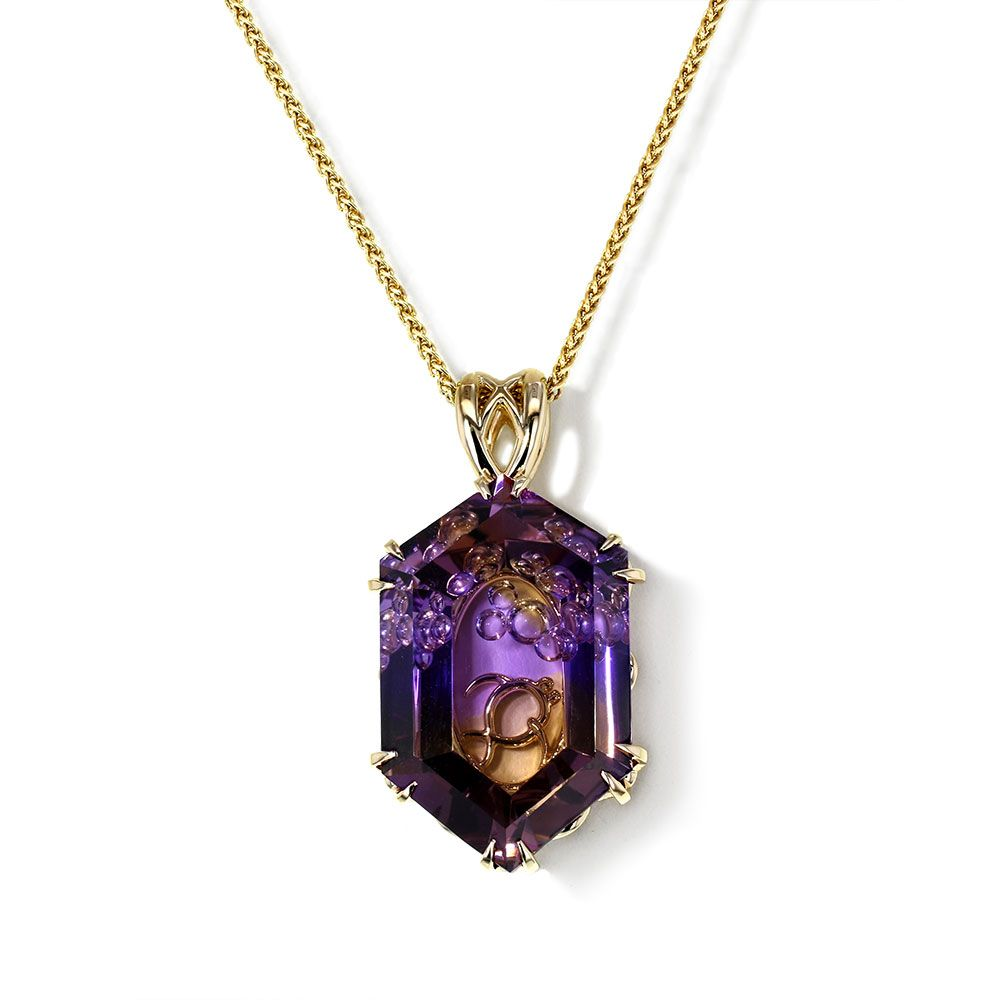 If you like exotic fine jewelry, you will be fascinated by this Ametrine Necklace created by the artisans at Jewelry Designs in Connecticut.