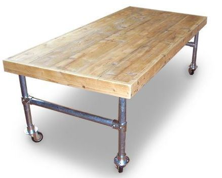 Table On Wheels Made With Scaffolding Pipes Furniture Resin Patio Furniture Rustic Dining Table