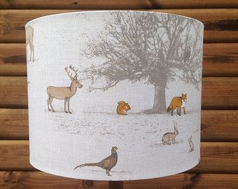Drum lampshade british woodland fabric covered lamp shade 19cm up drum lampshade british woodland fabric covered lamp shade 19cm up to 40cm aloadofball Images