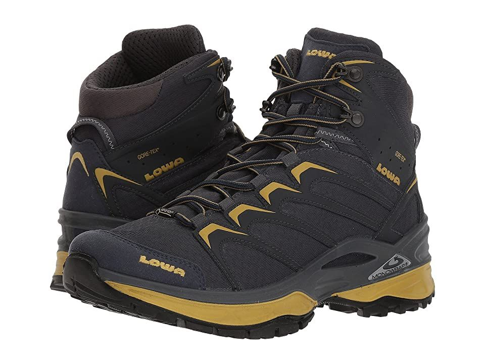 Lowa Innox GTX Mid (Steel Blue/Mustard) Men's Hiking Boots. Escape the city doldrums and take to the trails in the all-day comfort and reliable performance of the Lowa Innox GTX Mid hiking boot. Lightweight synthetic upper materials. GORE-TEX technology is breathable and waterproof to ensure protection against outside elements. Heel pull loop for an easier on and off. Plush tongue and collar for added ankle support. Breathable #Lowa #Shoes #Boot #Hiking #Black