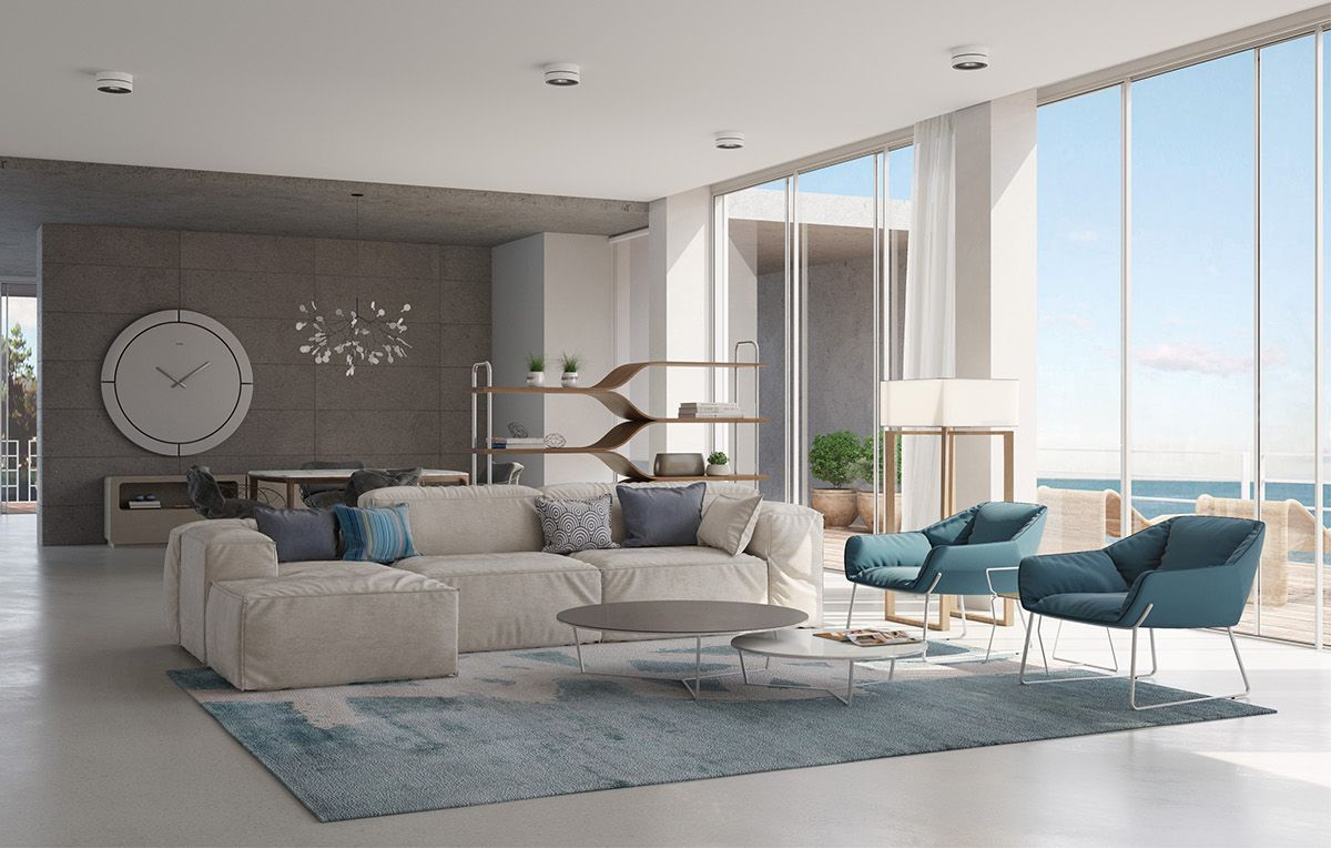 House by the sea. Living room. on Behance in 2019 Living
