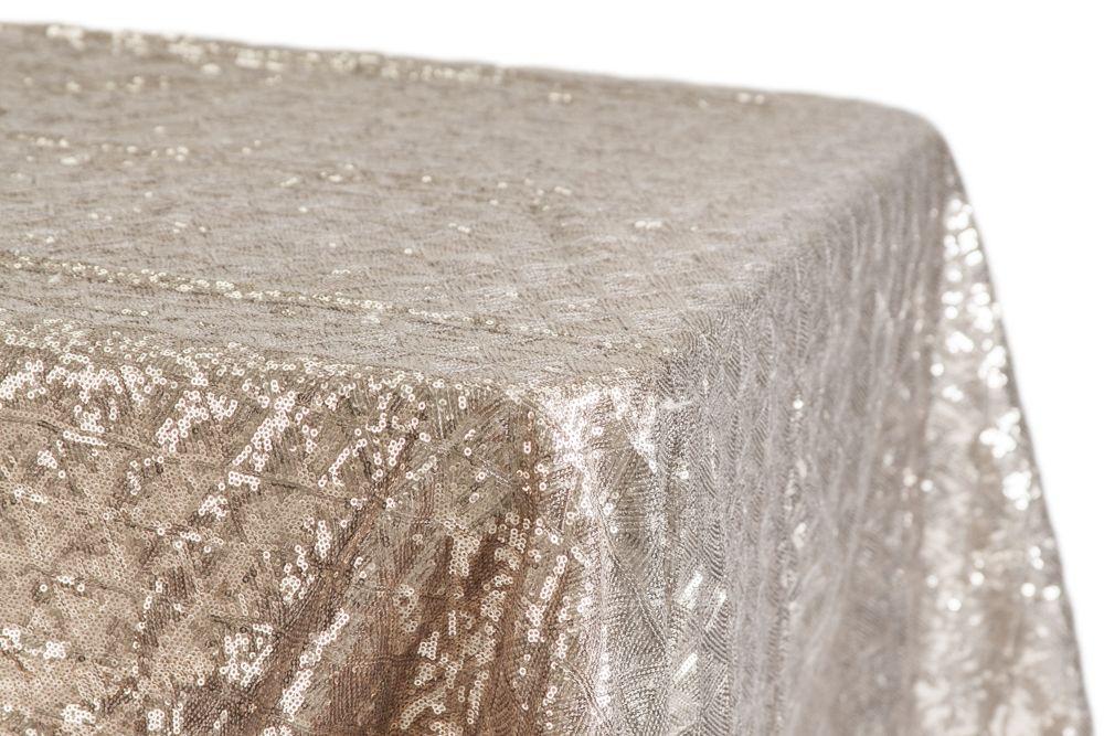 Diamond Glitz Sequin Rectangular Tablecloth 90 X156 Champagne