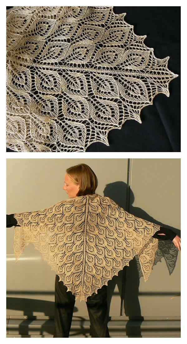 Spring Leaves Lace Shawl Free Knitting Patterns | Knit patterns ...