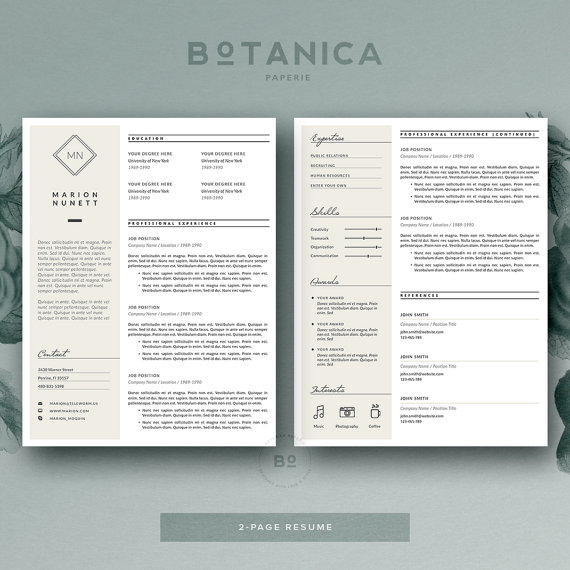 Resume Template For Ms Word  Minimal Resume Design  Free Cover