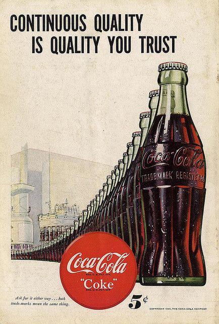 Continuous Quality • Coca-Cola Magazine Illustration · Pop Art · 1947 #vintage #design #art #coke #cocacola